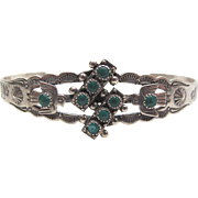 Vintage Native American Stamped Sterling Silver Turquoise Cuff Bracelet