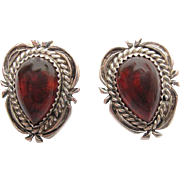 Vintage Signed Native American Sterling Silver Cognac Amber Post Earrings