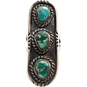 SALE Vintage Native American Silver Turquoise Ring Size 5