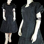 Vintage 1950's Black Taffeta Evening Dress
