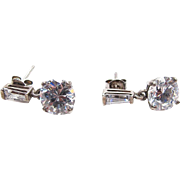 Vintage Sterling Silver Cubic Zirconia Dangle Earrings