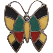 Vintage Native American Bell Trading Post Sterling Silver Enameled Butterfly Ring Size 6 1/2