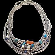 Vintage Native American Set Of Seven Liquid Silver Necklaces