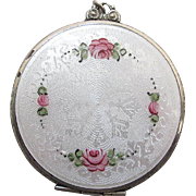 1930's Vintage Guilloche Enameled Mirrored Compact Pendant