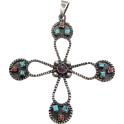 Vintage Mexican Sterling Silver Amethyst Glass Turquoise And Coral Cross Pendant