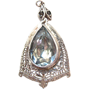 Vintage Art Deco Period Sterling Silver Filigree Blue Topaz Glass Pendant