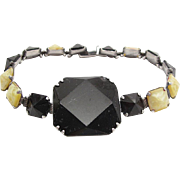 Vintage Art Deco Sterling Silver Bracelet With Black And Marbled Glass Stones Signed Wells
