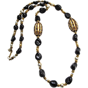 Vintage Miriam Haskell Glass And Metal Bead Necklace 37 Inches Long