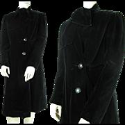 SALE Vintage 1940's A.W.B. Boulevard Black Velvet Evening Coat With Neck Ties