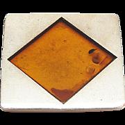 Vintage Modernist Sterling Silver Genuine Honey Amber Pendant / Brooch