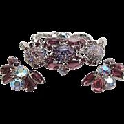 SALE Vintage 1950's Silver - Tone Amethyst Rhinestone Art Glass Bracelet And Earrings Set