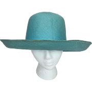 SALE Vintage Turquoise Wide Brimmed Straw Hat