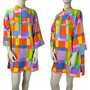 Vintage 1960'S Bold Geometric Cotton Tent Dress With Three-Quarter Length Sleeves