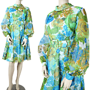 SALE Vintage 1970's Belted Floral Chiffon Dress With Taffeta Underdress
