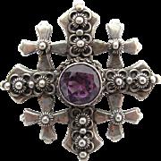 Vintage Jerusalem 900 Silver And Color-Change Sapphire Crusaders Cross Pendant