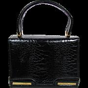 Vintage 1960's David's Fifth Avenue Black Alligator Leather Box Purse