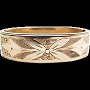 SALE Antique Victorian Engraved Gold - Filled Bangle Bracelet With Interior Elastic