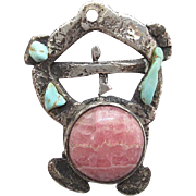 Vintage Handcrafted Modernist Silver Rhodochrosite And Turquoise Pendant