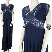 Vintage 1940's Rayon Crepe And Lace Evening Gown