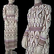 Vintage 1970's Belted Jersey Maxi Dress
