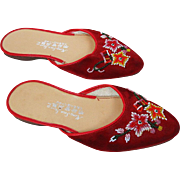 Vintage Japanese Red Velvet Beaded Slippers