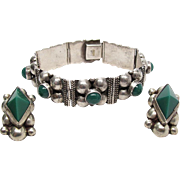 Vintage Mexican Sterling Silver Green Onyx Bracelet And Clip Back Earrings Set