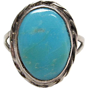 SALE Vintage Native American Sterling Silver Turquoise Ring Size 7