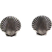 SALE Vintage Sterling Silver Scallop Shell Cufflinks