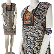 Vintage 1970's Printed Cotton Tunic Dress