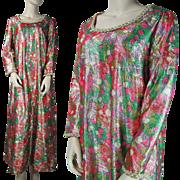 1970's Vintage Colorful Lamé Maxi Dress By Boutique Ruth