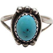 SALE Vintage Native American Sterling Silver Turquoise Ring Size 6 3/4