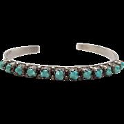 Vintage Zuni Native American Stamped Sterling Silver Turquoise Cuff Bracelet Signed L.J. ...