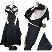 Vintage 1950's Black Taffeta & Pink Tulle Cocktail Dress With Martini Label