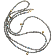SALE Vintage Labradorite Bead Necklace With Gold - Filled Beads And Clasp 38 Inches Long
