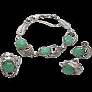 SALE Vintage Sorrento Sterling Silver Filigree Chrysoprase Bracelet Earrings And Ring Set