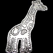 Vintage Mexican Sterling Silver Giraffe Brooch
