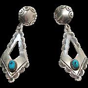 Vintage Native American Navajo Sterling Silver Turquoise Dangle Earrings Signed Juan Guerro