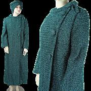 Vintage 1960's Vogue Paris Original Metallic / Lamé Full Length Coat And Hat