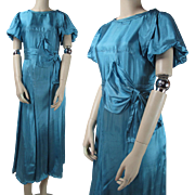 SALE Vintage 1930's Rayon Satin Cocktail Dress With Puffed Sleeves