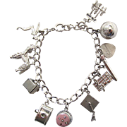 Vintage Sterling Silver Charm Bracelet With Eleven Charms Some Mechanical