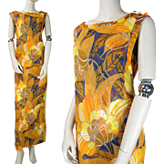 Vintage 1970's Sleeveless Floral Print Maxi Dress With Chiffon Overdress