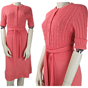 1970's Vintage Belted Acrylic Knit Dress With Crocheted Bodice