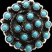Vintage Native American Zuni 800 Silver Snake Eye Turquoise Ring Size 6 1/4