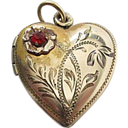 SALE Antique Victorian Gold - Filled Etched Heart Photo Locket With Ruby Red Paste Stone