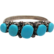 SALE Vintage Native American 800 Silver Turquoise Ring Size 6