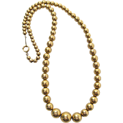Vintage Early 20th Century Simmons Gold-Filled Bead Choker Length Necklace