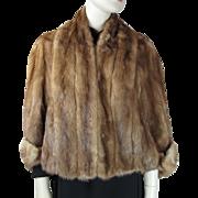 SALE Vintage Circa 1940 Brown Mink Fur Jacket With Dolman Sleeves