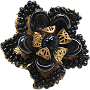 SALE Vintage Signed Mirriam Haskell Gold - Tone Flower Brooch With Black Glass Beads