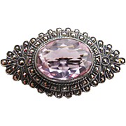 Vintage Art Deco Period Sterling Silver Amethyst And Marcasite Brooch