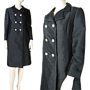SALE Mod Vintage 1960's Gino Charles Black Silk Coat With Rhinestone Buttons